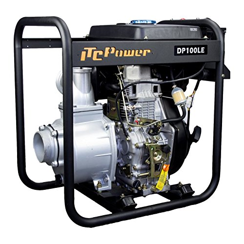 ITCPower IT-DP100LE Motobomba Diesel, negro