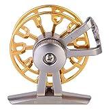 Abaodam 1 carrete de pesca de metal con mosca carrete de pesca rueda delantera de pesca rueda de pesca para pesca (mano derecha dorada)