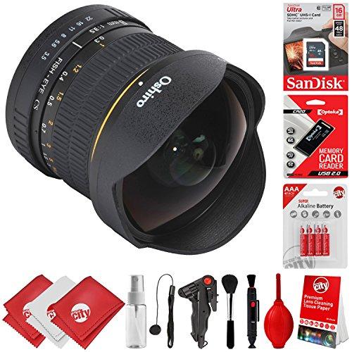 Oshiro 8mm f/3.5 HD Aspherical Fisheye Lens & Removable Hood for Canon EOS 80D, 77D, 70D, 60D, 7D, 6D, 5D, 7D Mark II, T7i, T6s, T6i, T6, T5i, T5, SL1 & SL2 Digital SLR Cameras -  Circuit City, circuitcity113730