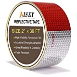 AISEY 2' X 30ft Reflective Safety Tape DOT C2 Red White for Trailers 2 Inch - Reflector Conspicuity Tape High Intensity Grade