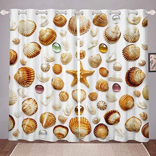 Strand Seestern Fenstervorhang Ozean Marine Themed Gardinen Für Kinder Couch Shell Blickdichte Gardinen 245x140cm Meer Creatures 2 Paneele