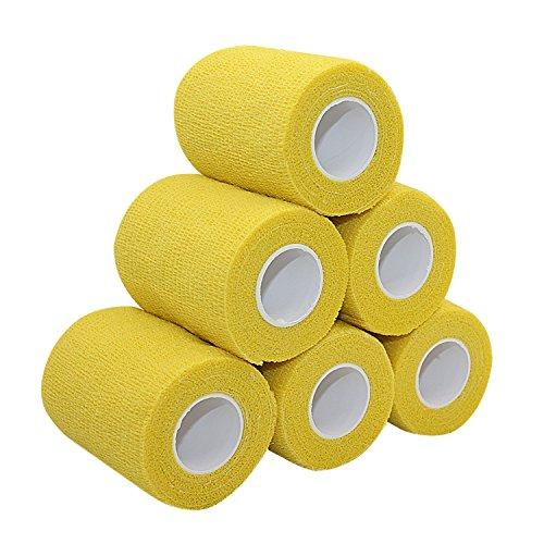 COMOmed selbstklebender verband elastische binde handgelenk bandage pflaster rolle Dog Bandagen Tierische Bandagen Gelb 7.5 cm X 6 Bände