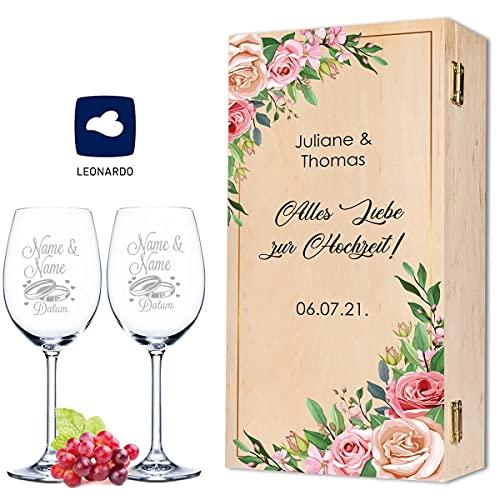 Leonardo - Copas de vino con grabado de nombre y fecha en diseño de rosas rosas, como regalo de boda, compromiso o aniversario, incluye caja de madera vintage impresa, el regalo de boda
