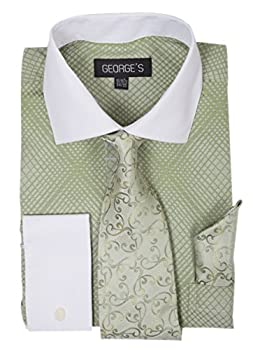 George s Small Check Pattern Fashion Dress Shirt with Woven Tie Set AH624 Apple-17-17 1/2-36-37