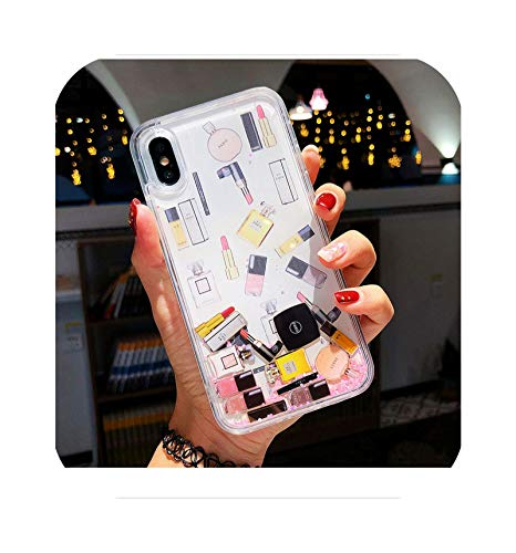 Cosméticos Maquillaje Pintalabios Perfume Arenas movedizas Glitter Teléfono Case Para iPhone 12Mini 12 Pro XS Max XR 6 7 8 Plus SECover Para Samsung-Rosa-Para iPhone 12