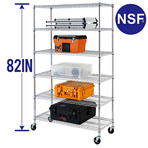 "Wire Shelving Unit Heavy Duty Height Adjustable NSF Certification Utility Rolling Steel Commercial Grade with Wheels for Kitchen Bathroom Office (Chrome, 48"" Lx18 Wx82 H)"