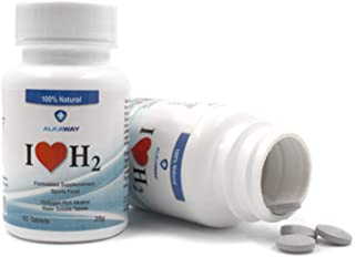 AlkaWay Molecular Hydrogen Tablets for Drinking Water - Hydrogen Infused Sports Supplement - 60 Dissolvable Tablets - Potent H2 Tabs w/Magnesium - I Love H2