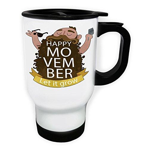 Movember Moustache Bonjour Tasse de voyage thermique blanche 14oz 400ml s236tw