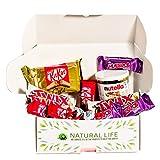 Caja regalo de chocolates I Pack de chocolates para regalar: Kinder Bonds, Nutella 200gr, Mini Kit Kat, Twix Blanco, Mini Huesitos, Kit Kat Gold I Cesta ideal para regalar o disfrutar