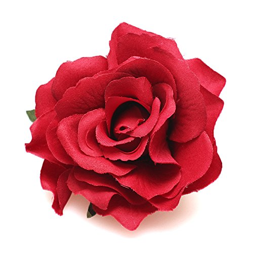 DreamLily Rose Flower Hair Clip Flamenco Dancer Pin up Flower Brooch BC10 (Big Red)