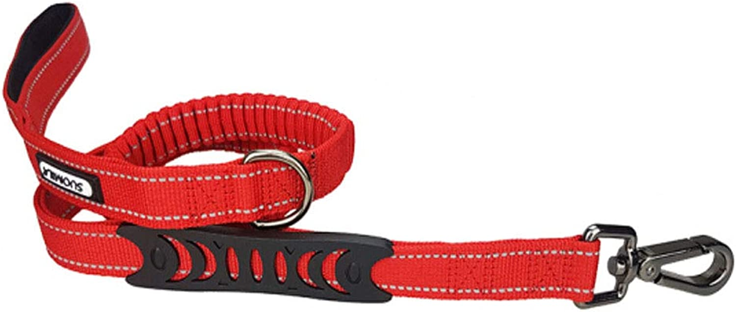 Dog Leash MultiFunction Shockproof ExplosionProof Elastic Telescopic Traction Belt, Suitable for Teddy Small and Medium Dogs Red (Size   140  2.5cm)