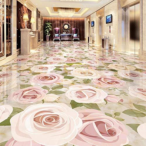 Estilo europeo Jade Reliefs Plantas Flores 3D Azulejos de suelo Etiqueta de papel tapiz Sala de estar Hotel Mall Photo Murals-350 * 275cm