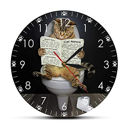 The Geeky Days Kitten Cat on Toilet with Newspaper Bedroom Silent Wall Clock Funny Bathroom Wall Art Decorative Wall Watch Gift for Cat Owners