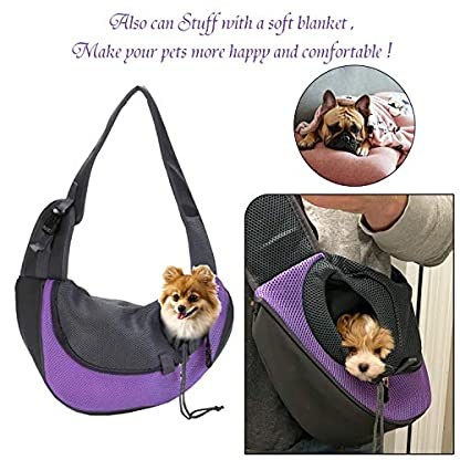 EVBEA Dog Carrier Sling Front Pack Puppy Carrier Purse Breathable Mesh Travel for Small or Medium Pet Dogs Cats Sling Bag 2