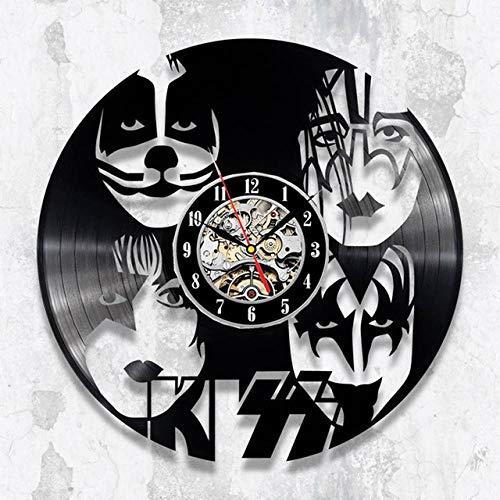 SKYTY Reloj de pared de vinilo con banda de rock, retro, con grabación de vinilo, banda de reloj de pared 3D, regalo de abanico, decoración del hogar, 8_sin luz LED de 30,48 cm
