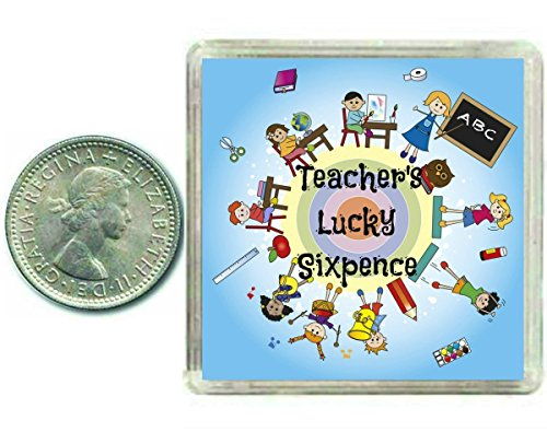 Lehrer, Silbermünzen, Sixpence Geschenk. Inkl. Geschenkbox, tolle Aufbewahrun...