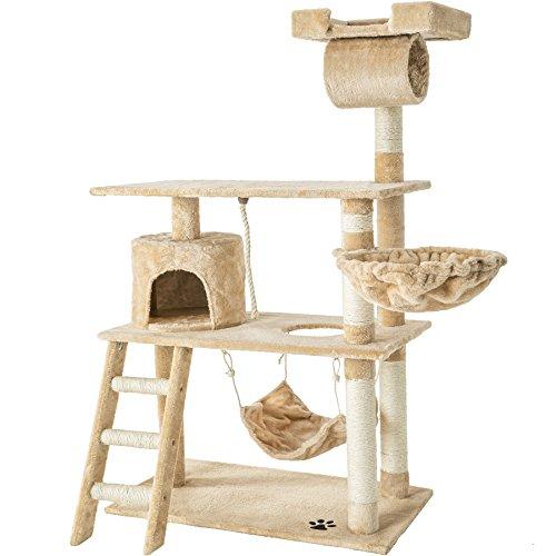 TecTake 800294 Katzen Kratzbaum mit vielen Kuschel- und Spielmöglichkeiten, 141cm hoch, extra breit - Diverse Farben - (Beige | Nr. 401854)