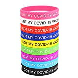 """PACKAGE INCLUDED: 54 """"I GOT MY COVID-19 VACCINE"""" Silicone Wristband, Including 9 Colors, 6 Of Each Color. The Covid Is Terrible, We Should Get Vaccinated! GREAT QUALITY: Made Of Soft Silicone, Flexible And Easy To Wear, The Wristband Is Very Lightwei..."""