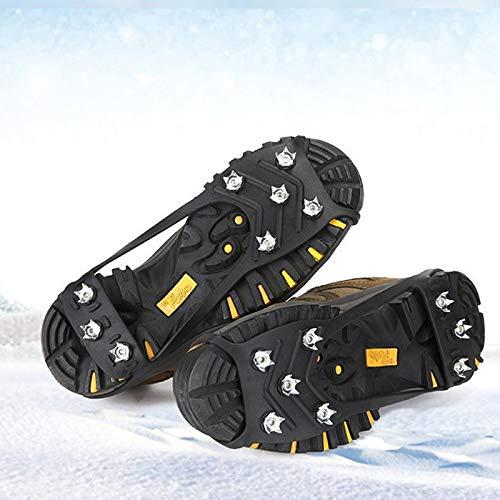 Tacos de hielo, agarraderas de hielo, zapatos y botas de goma para zapatos de nieve, crampones con 8 tacos de acero para pesca en hielo, caminar, correr, nieve, caza, correr (tamaño mediano)