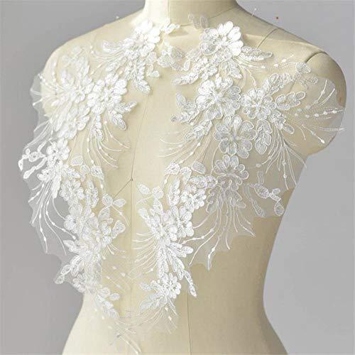 2 parches de lentejuelas de 42 x 20 cm, con código de bordado africano, para coser vestidos de boda, velos, tela negra, roja y blanca