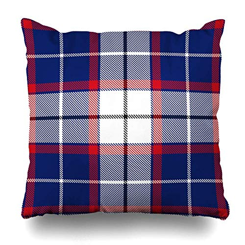 Klotr Housses De Coussin Happy Blue Black Scottish Tartan Plaid Pattern Check Booking Bright Classic Cool Design Picnic Pillowcase Square Size 18 x 18 inches Zippered Home Decor Cushion Case