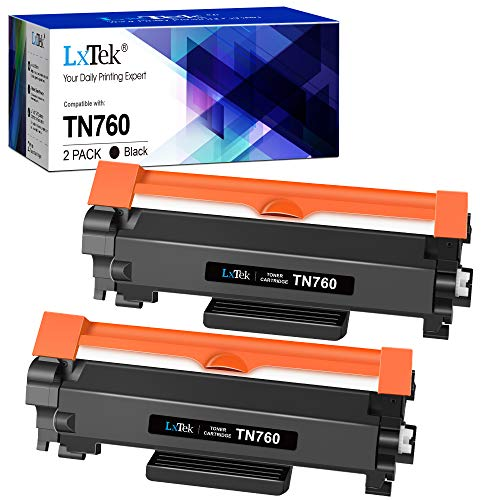 LxTek Compatible Toner Cartridge Replacement for Brother TN760 TN-760 TN 730 to use with HL-L2395DW HL-L2390DW MFC-L2750DW HL-L2350DW DCP-L2550DW (2 Black)