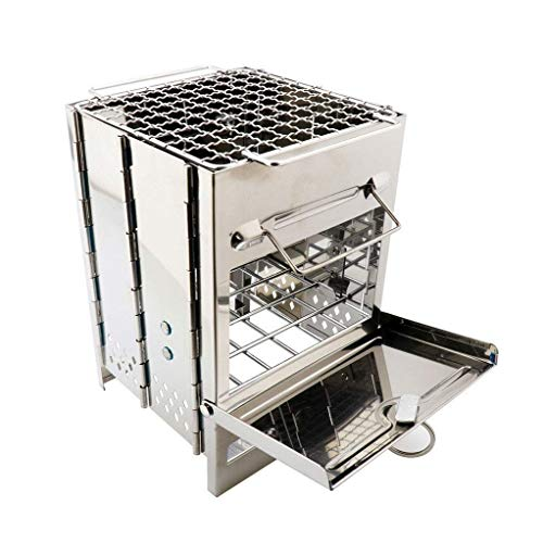 LXSKJ Parrilla de Barbacoa de carbón de Acero Inoxidable portátil con Juego de Herramientas de Parrilla de Barbacoa de Alta Resistencia con Bolsa de refrigeración for Hombres en Caja de Aluminio