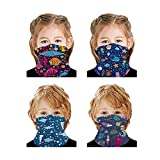 VANGETIMI 4 Pack Kids Face Mask Mouth Cover Bandanas Neck Gaiter Headband Dust Block Balaclavas UV Sun Protection Half Face Cover Cartoon Mask for Hot Summer Fishing Cycling Hiking