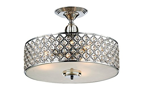 Saint Mossi Chandelier Modern K9 Crystal Raindrop Chandelier Lighting Flush Mount LED Ceiling Light Fixture Pendant Lamp for Dining Room Bathroom Bedroom Livingroom 3E12 Bulbs Required H11