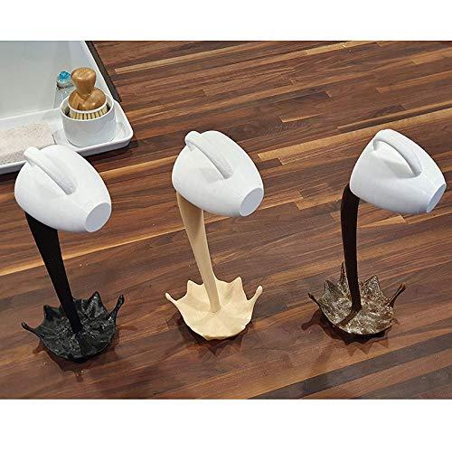 Woyada Schwebende Kaffeetasse Skulptur, Kunststoff verschüttet magischer Spritzer (Küchendekor), kreatives Geschenk für Urlaub und Geburtstag (Khaki + Braun + Schwarz)