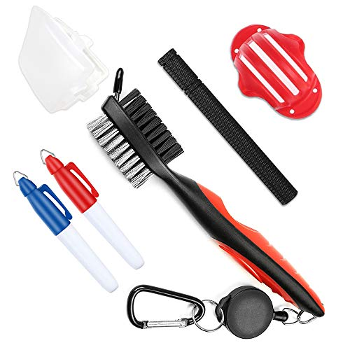 BangBoom Golf Club Accessories Include 2pcs Retractable Golf Club Brush with Case, 1 Golf Club Groove Sharpener and Cleaner, 1pc 3 Line Golf Ball Alignment Marking Tool, 2 Marker Pens (1Red+pens)