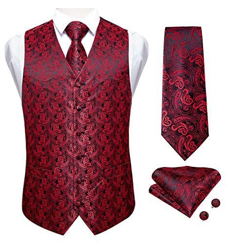 DiBanGu Herren Anzugweste Paisley Krawatte Taschentuch Manschettenknöpfe Smoking Formal Weste rot schwarz Größe M