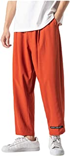 Pantaloni Harem Uomo Larghi Lino,Homebaby Vintage Pantaloni con Tasconi Uomo Invernali Pantaloni da Lavoro Cargo Moda Coto...