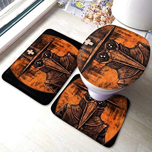 DJNGN Plague - Graphic-On-Fire-London-Old-AbstractBaño Alfombra de baño Juego de Alfombrillas de 3 Piezas Almohadillas Antideslizantes Alfombra de baño + Contour + Tapa de Inodoro Baño