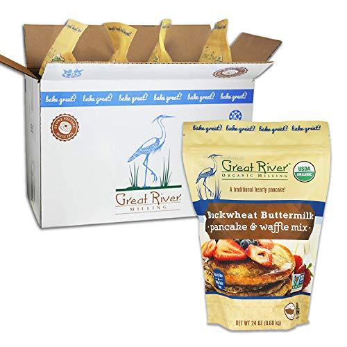 Great River Organic Milling, Pancake & Waffle Mix, Buckwheat Buttermilk, Organic, 24 Oz (Pack Of 4) -  AmazonUs/GREQM