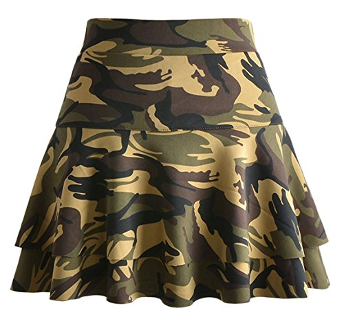 chouyatou Women's Stretched Versatile Flare Tiered Skater Skirts with Shorts (Medium, Army-Camo)