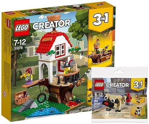 AS Lego Creator 31078 - Baumhaussch e + Lego Creator 30542 - 3 in 1 Niedlicher Mops Polybag, Kreativspielzeug für Kinder