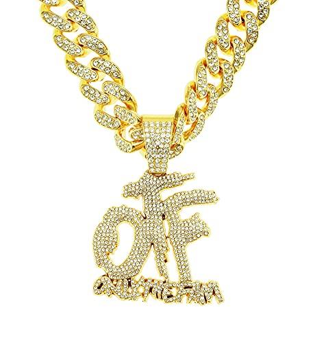 RXSHOUSH Collar de Hip Hop Letra OTF Colgante Hombres y Femeninos Rhinestone Completo Zircon 20 Pulgadas Cadena Cubana Plata Dominio Collar Colgante