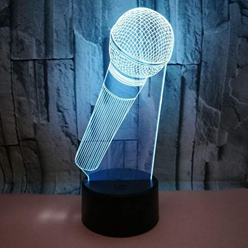 LIkaxyd LED 3D-nachtlampje, optische illusielamp 7 kleuren veranderen, Touch USB & batterij-aangedreven speelgoed decoratieve lamp, beste cadeau voor kinderen-microfoon