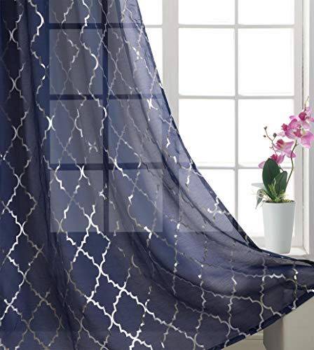 Foxtile Silver Moroccan Tile Print Curtains Navy Blue Short Window Drapes with Glittle Geometric Design for Living Room 2 Panels Eyelet /Ring Top Transparent and Soft 63 inch Long