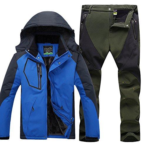 Herren wasserdichte Warm Regenjacke Outdoor Jacke Funktionshosen Wasserdicht warm Skihosen Trekkinghose Kit CAI Blau A XXL