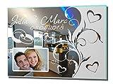 NiTec Olbernhau Fotospiegel Wedding 1 Motivspiegel mit Gravur + Foto Bilderrahmen Hochzeit Ehe Trauung Geschenk (60x45cm)