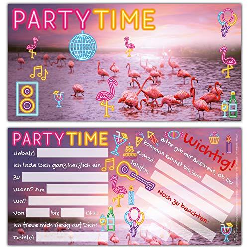 12er Set FLAMINGO Einladungskarten - edle Premium Einladungen zum Kinder-Geburtstag oder Party für Mädchen Jungen & Erwachsene von BREITENWERK