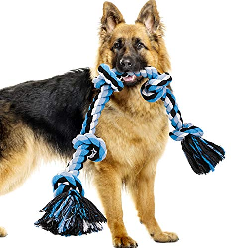 Dog Rope Toys for Aggressive Chewers, Heavy Duty Dog Toys for Medium Large Dogs, Tough Twisted Rope Toy with 5 Knots