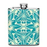 KutLong Blue Pirate Skull Crossbones Pattern Fashion Portable Stainless Steel Hip Flask Whiskey Bottle for Men and Women 7 Oz