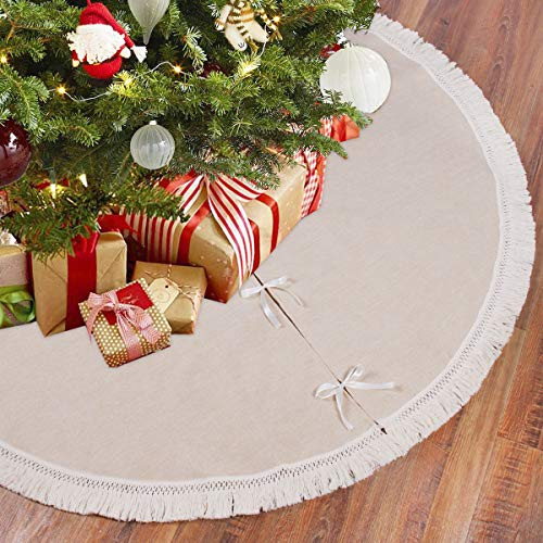 QIFU Burlap Christmas Tree Skirt, 48 Inch Rustic Tree Skirts with Fringe Trim for Xmas New Year Holiday Decorations Indoor Outdoor