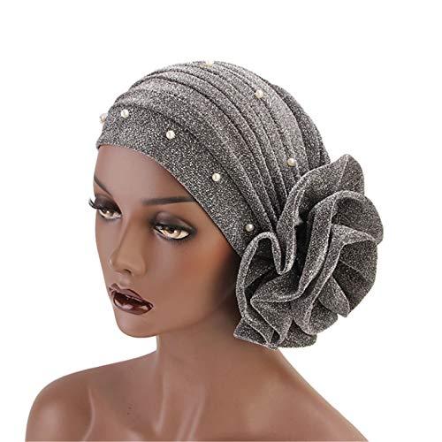 KCCCC Pérdida de Cabello Turban Turban Hat 2pcs Seda Brillante Seda Grande Flor Turbante Sombrero Perla Indio Sombrero Tapa de Bufandas de Headwrap (Color : Silver, Size : One Size)