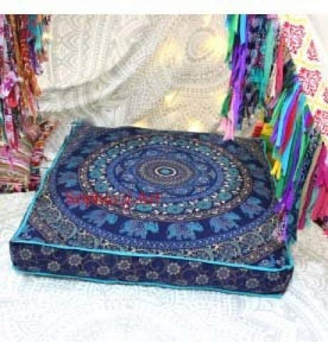 Sophia Art Indian Elephant Mandala Floor Pillow Square Ottoman Pouf Daybed Oversized Cushion Cover Cotton Seating Ottoman Poufs Dog/Pets Bed (Blue)