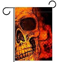 ガーデンヤードフラッグ両面 /12x18in/ ポリエステルウェルカムハウス旗バナー,火の頭骨