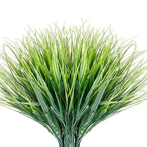 JEMONG 12 Bundles Artificial Grasses Outdoor UV Resistant Fake Grass No Fade Faux Plastic Plants Garden Window Box Decorating(Green Grass)